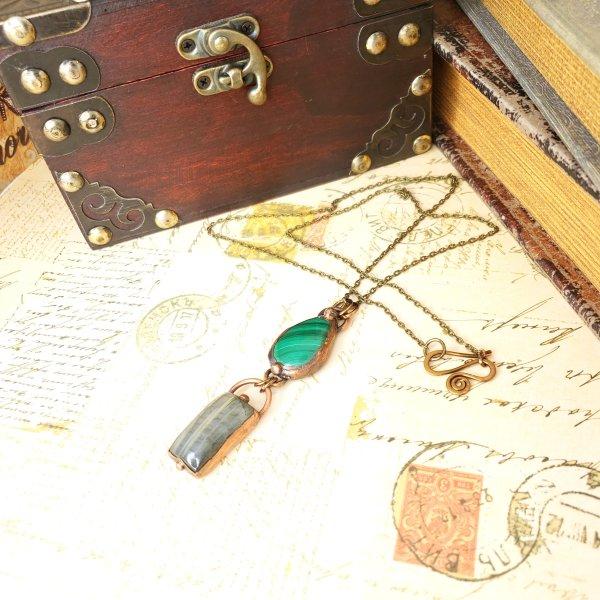 Electroformed Malachite and Labradorite Pendant with Bronze Chain