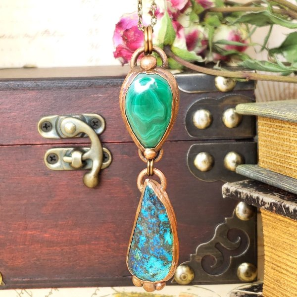 Electroformed Malachite and Azurite Pendant with Bronze Chain