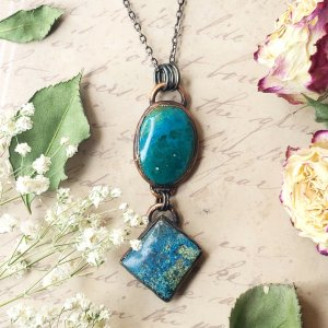 Electroformed Chrysocolla and Azurite Cabochon Pendant with Gunmetal Chain