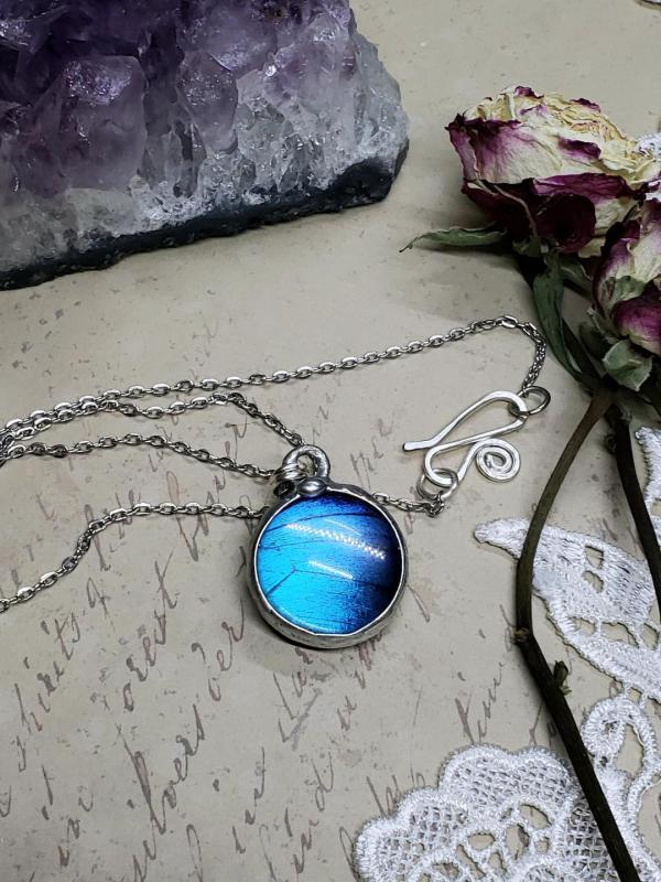 Blue Morpho Butterfly Necklace - Two-Sided Small Circle Smooth Shape in Silver