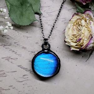 Blue Morpho Butterfly Necklace - Two-Sided Small Circle Smooth Shape in Gunmetal