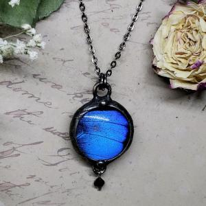 Blue Morpho Butterfly Necklace - Two-Sided Small Circle Shape with Charm in Gunmetal
