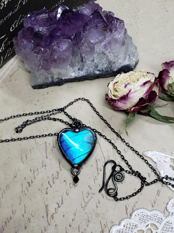 Blue Morpho Butterfly Necklace - Two-Sided Heart Shape in Gunmetal with Charm