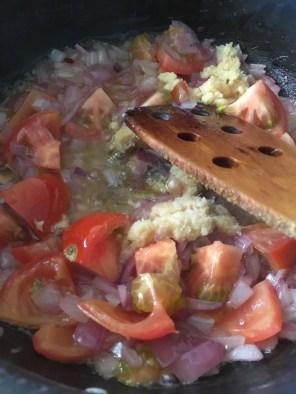 Onion, tomato, gingergarlic paste go in