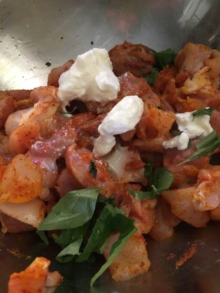 Marinate the Chicken with lemon juice, chilli, turmeric, coriander, garam masal powder and 1 tsp curd/yogurt