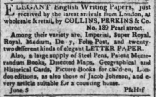 1806 ad for large supply of steel pens
