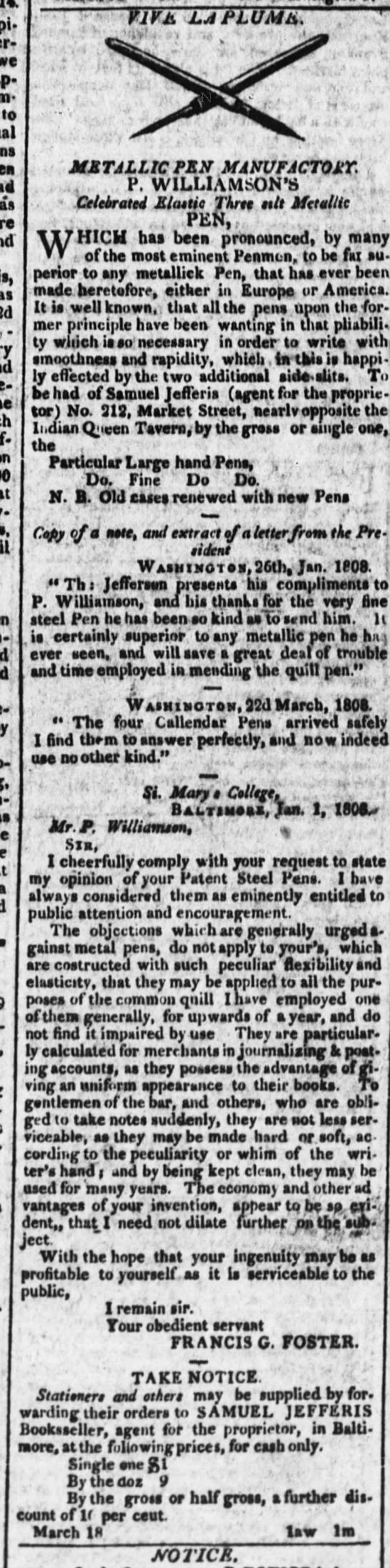 1809 Williamson ad with Jefferson