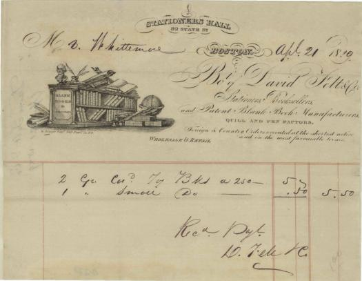 1829 stationer hall bill head