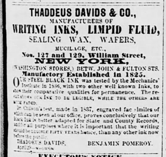 Thaddeus davids ad with location