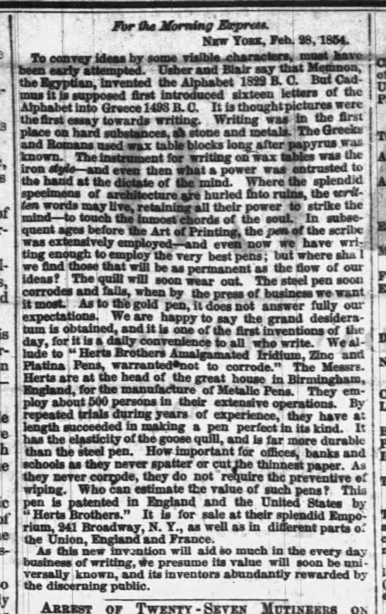 1854 herts bros ad