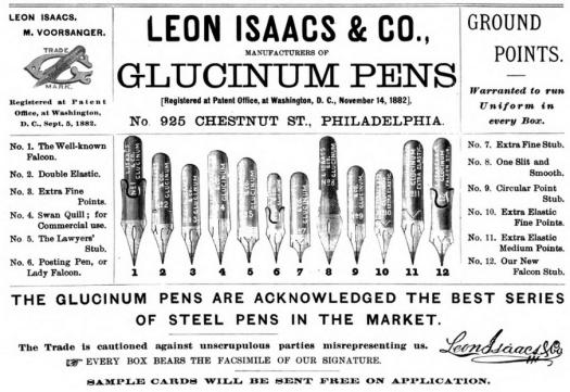 1887 Leon Isaacs 12 pens
