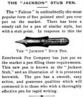 1889 Jackson stub announcement