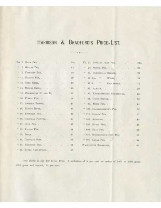 Harrison & Bradford price list from 1866