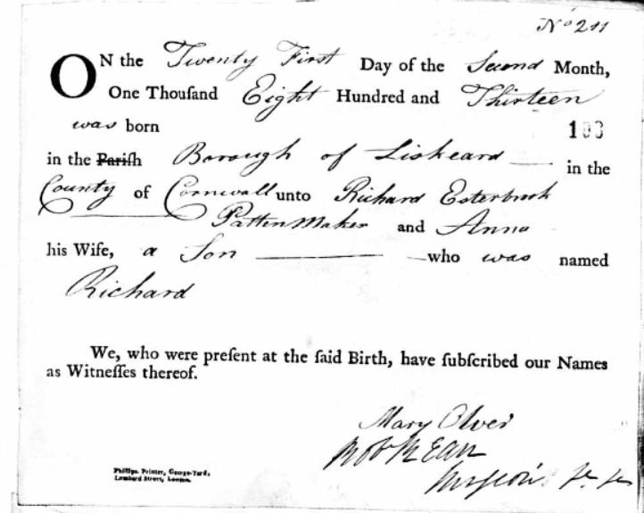 1813 Esterbrook richard_sr_friends_birth_record