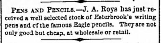 1862 Esterbrook advertisement in Detroit