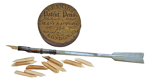Bramah's patent pen points and pen with a Bramah holder