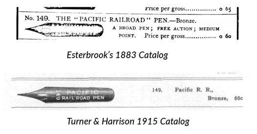 149 Pacific Railroad Pen Catalog comparison