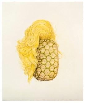 "© Aurel Schmidt, Selfie (Pineapple Hair), colored pencil on paper, 19.5"" x 16"", 2013"