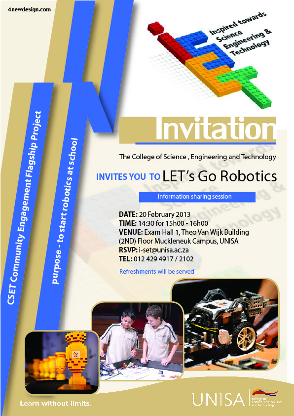 UNISA robotics information session invite
