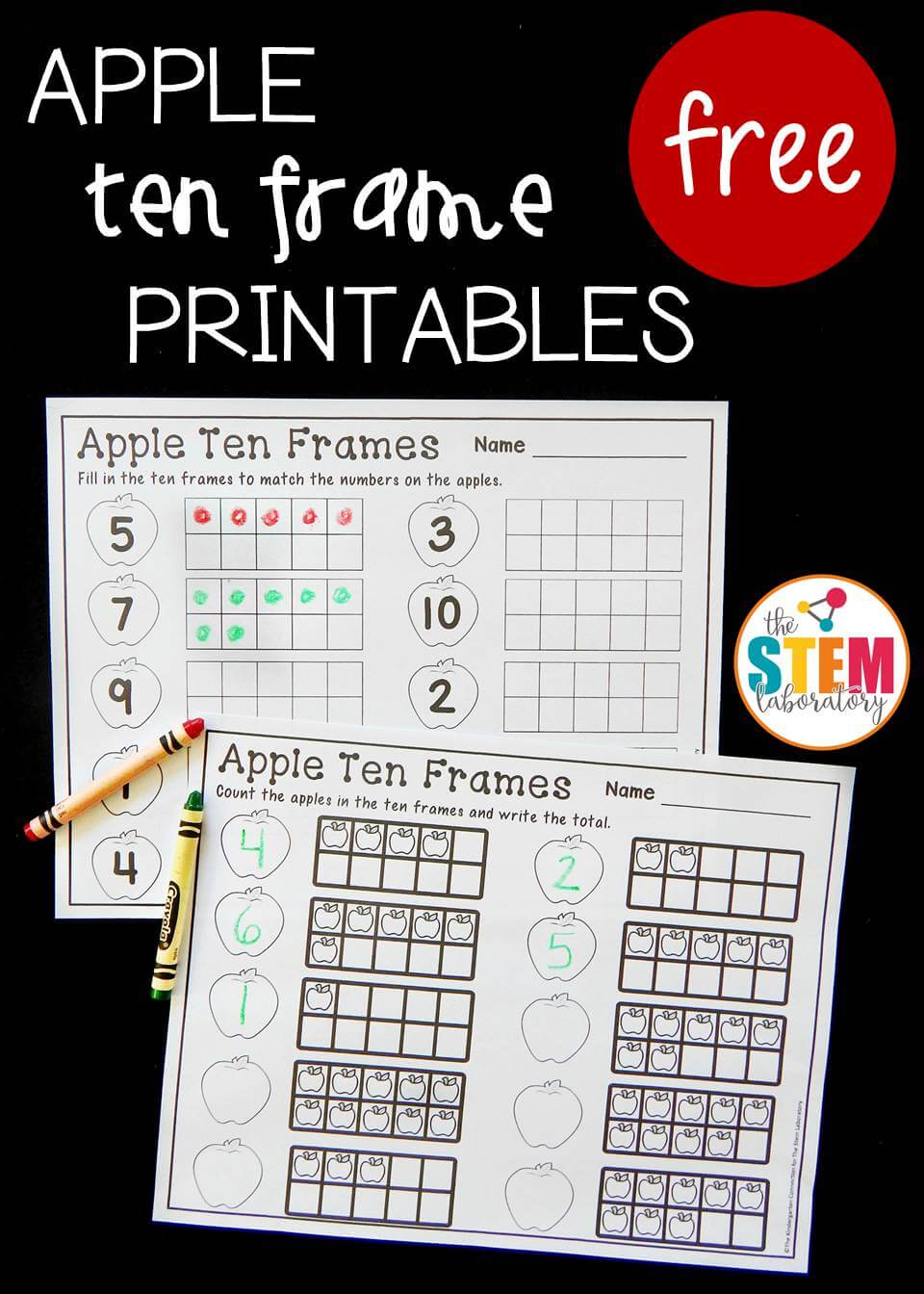 medium resolution of Apple Ten Frame Printables - The Stem Laboratory