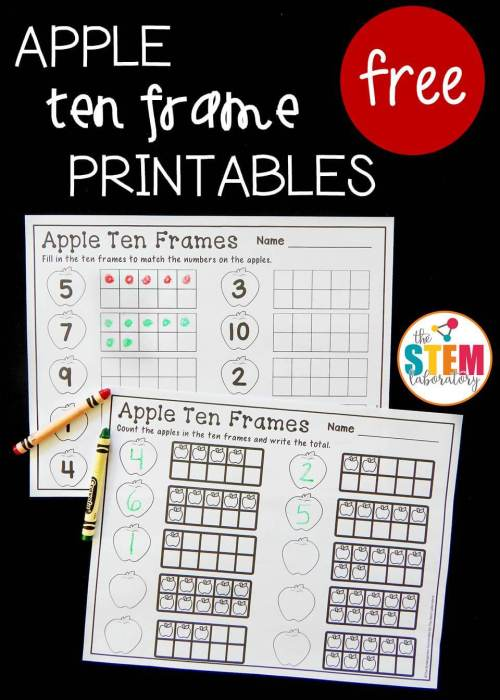 small resolution of Apple Ten Frame Printables - The Stem Laboratory