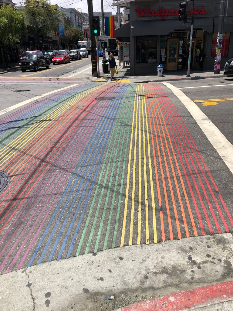 San Francisco Rainbow Crossing in Castro Street.