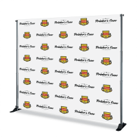 8x10 Step and Repeat Banner in Vinyl produced by The Step and Repeat Banner. We are the #1 Step and Repeat Banner printing company with our prices starting at $299.99 for a Step and Repeat banner with Stand and Carrying Case