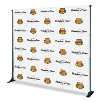 8x8 Step and Repeat backdrop in Fabric produced by The Step and Repeat banner. We are the #1 Step and Repeat Backdrops printing company with our prices starting at $299.99 for a Step and Repeat backdrop with Stand and Carrying Case