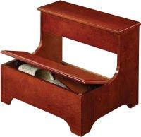 cherry wood bedroom step stool - TheSteppingStool.com