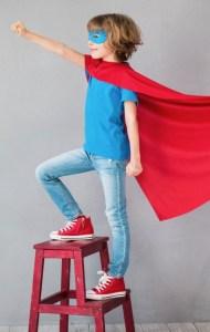 Child dressed as superman