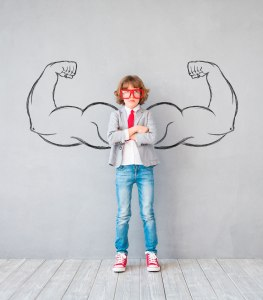 School pupil with strong arms