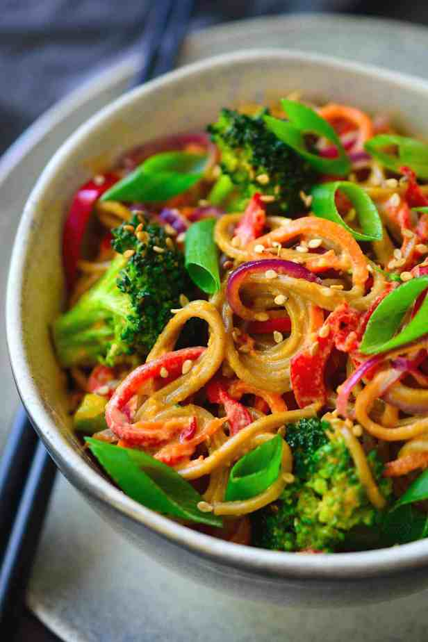 These almond butter noodles are deliciously creamy, quick and easy to make, and packed with a rainbow of veggies. I used soba noodles for this vegan recipe but it works equally well with udon, rice noodles, zoodles or even simple spaghetti.