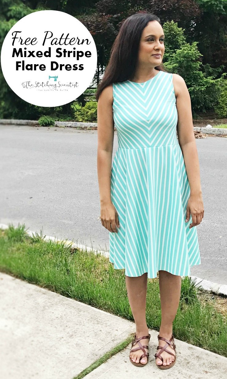 Sewing tutorial: Striped flare dress, with free pattern