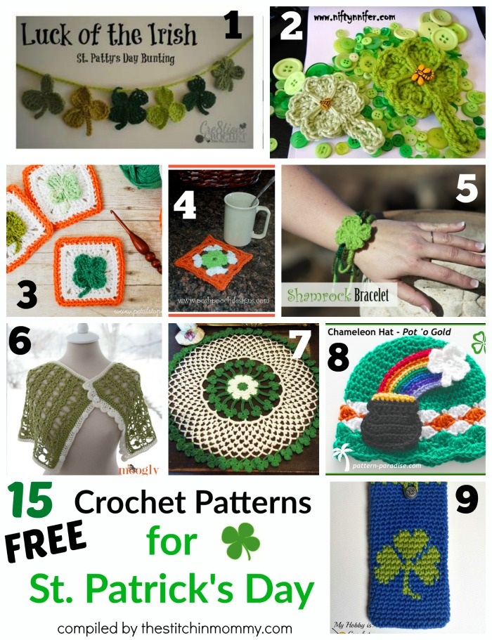 15 Free Crochet Patterns for St. Patrick's Day - Round Up compiled by The Stitchin' Mommy | www.thestitchinmommy.com