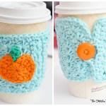 Crochet Star Stitch Pumpkin Coffee Cozy