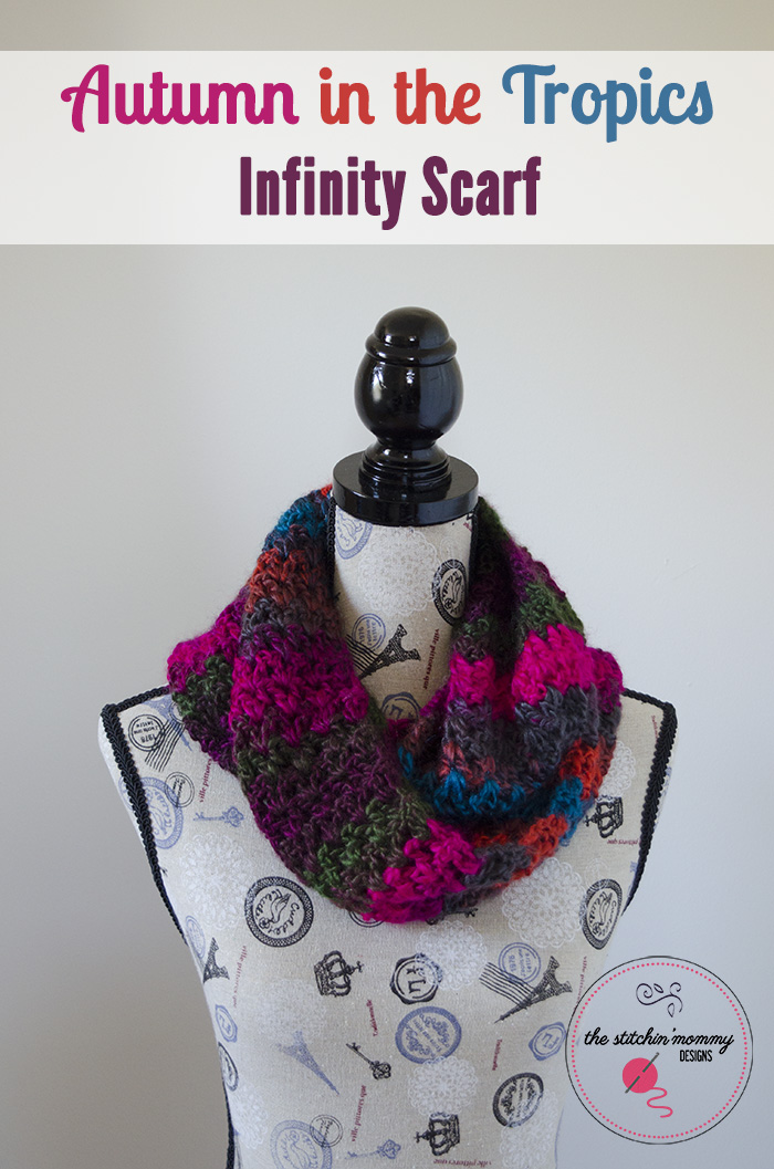 Autumn in the Tropics Infinity Scarf - Free Pattern | www.thestitchinmommy.com