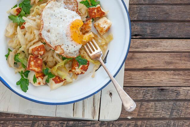 Halloumi + Cabbage Hash
