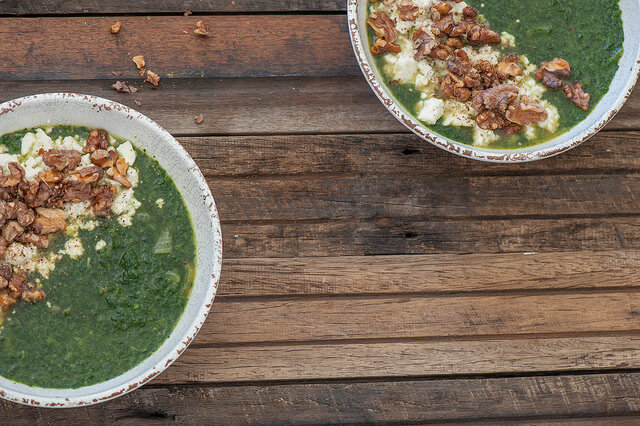 Spinach Soup with Smashed Feta & Walnuts