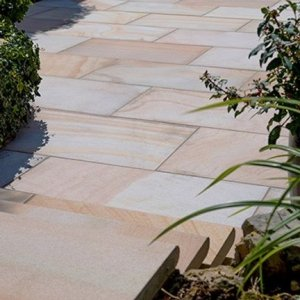 Buff sawn and shot blasted Indian Sandstone patio pavers