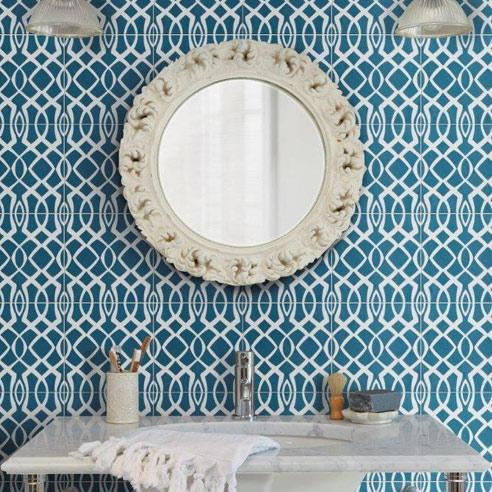 Modern Lattice Denim Encaustic Tiles