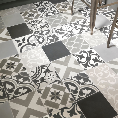 Patchwork Grey Encaustic Tiles