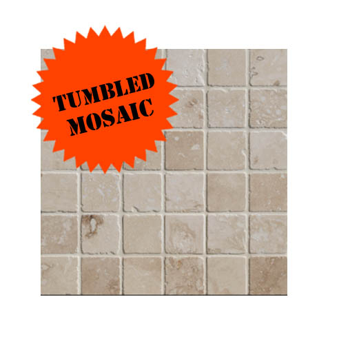 Lydia Classico Tumbled Travertine Mosaic