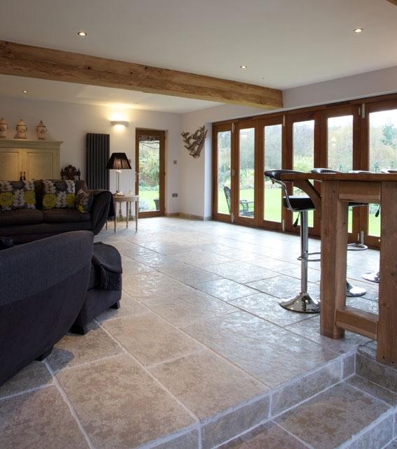 Farley Limestone Seasoned Finish in an open plan living room area