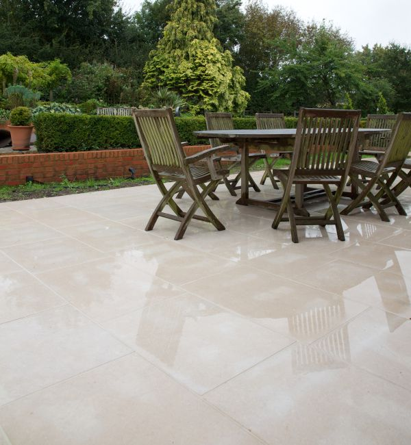 Hamlet Limestone Etched Finish External seating area
