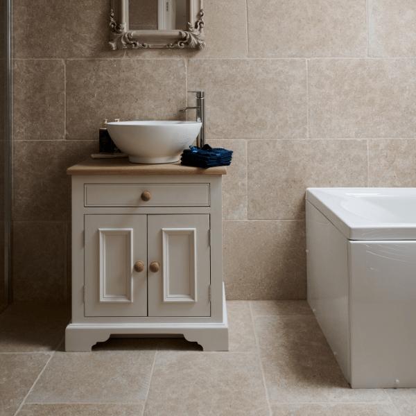 Hamlet Limestone Tumbled Finish bathroom floor and wall tiling