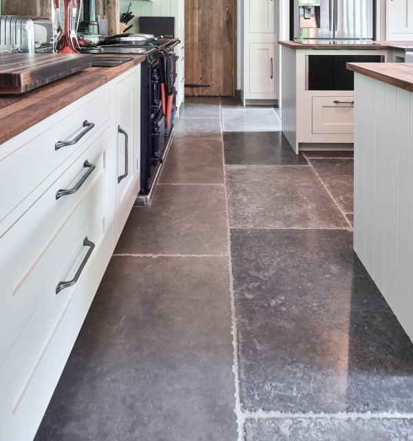 Hazlebury Limestone Seasoned Finish kitchen floor tiles