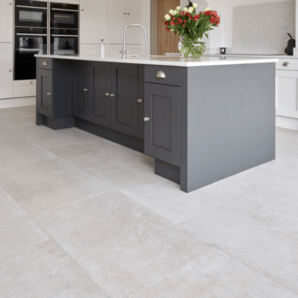 Jurassic Porcelain Grigio with contrasting kitchen units
