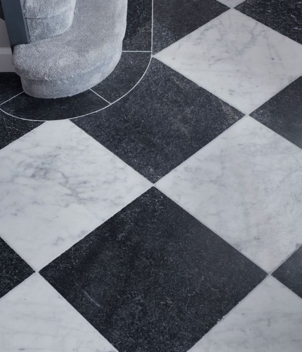 Kendal Marble Tumbled Finish at the foot of the stairs
