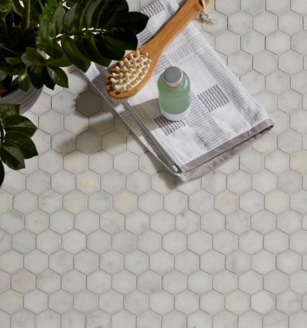 Long Island Marble Hexagon Mosaic Birds Eye View