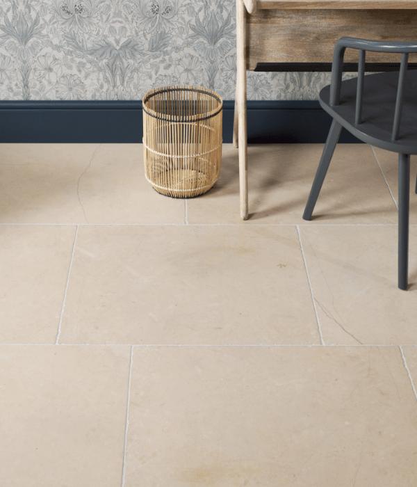 Maldon Limestone Tumbled Finish in a study